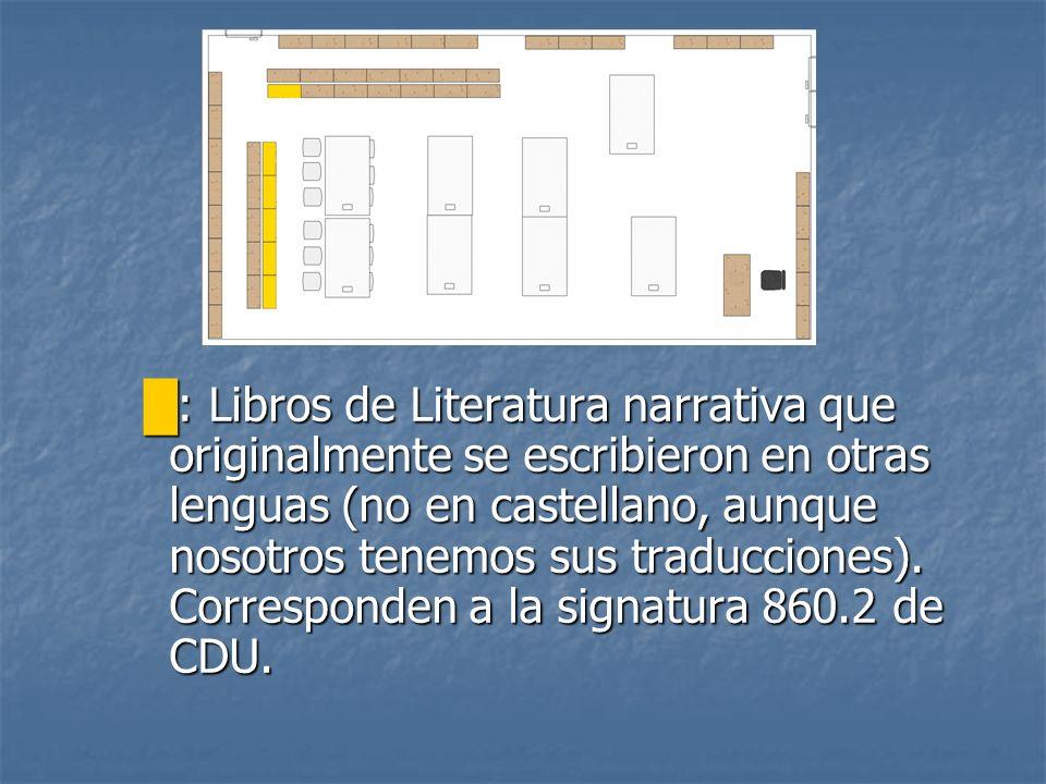 : Libros de Literatura narrativa que originalmente se escribieron en otras lenguas (no en castellano, aunque nosotros tenemos sus traducciones). Corre