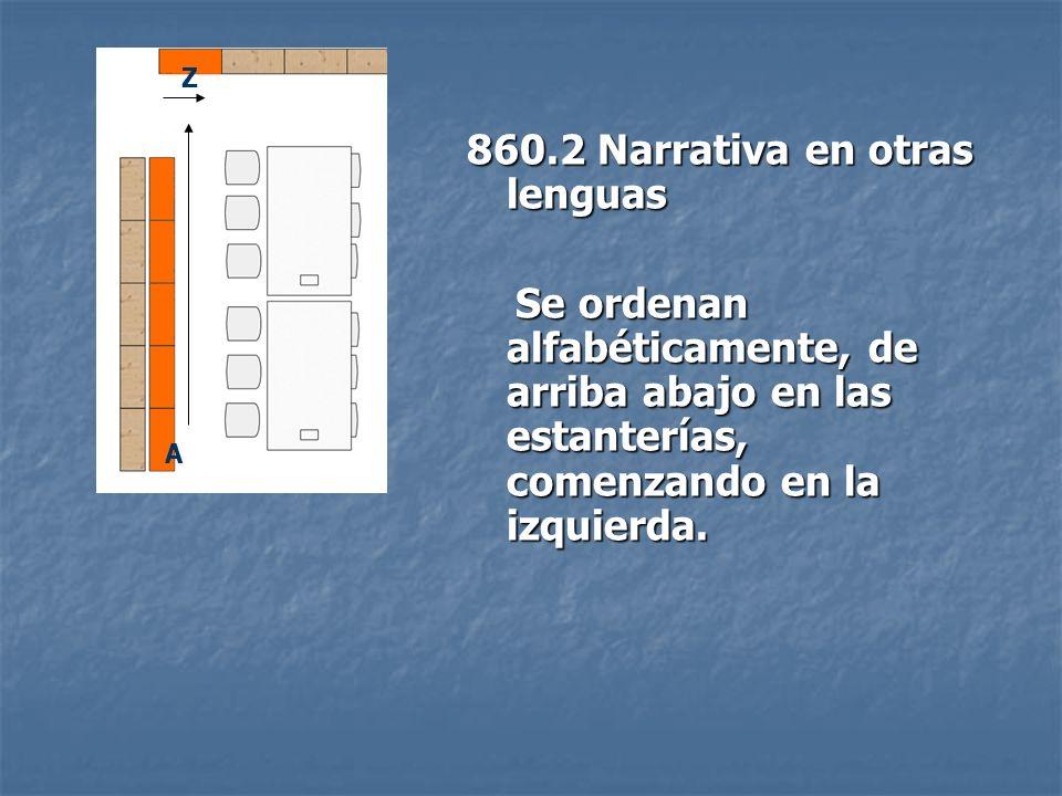 860.2 Narrativa en otras lenguas Se ordenan alfabéticamente, de arriba abajo en las estanterías, comenzando en la izquierda. Se ordenan alfabéticament