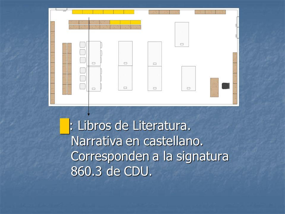 : Libros de Literatura. Narrativa en castellano. Corresponden a la signatura 860.3 de CDU. : Libros de Literatura. Narrativa en castellano. Correspond