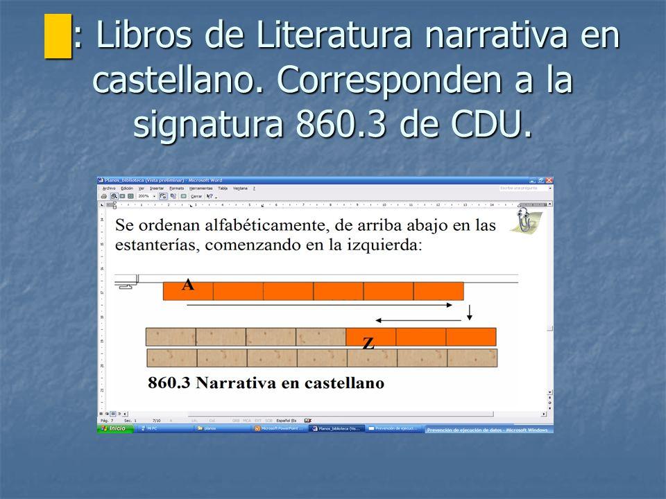 : Libros de Literatura narrativa en castellano. Corresponden a la signatura 860.3 de CDU. : Libros de Literatura narrativa en castellano. Corresponden