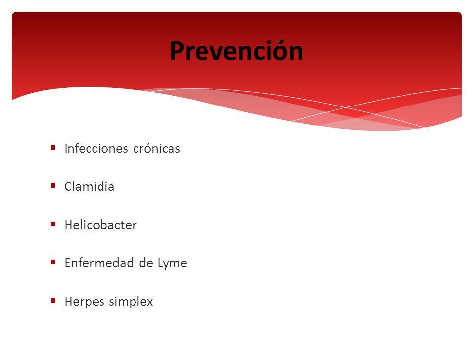 Infecciones crónicas Clamidia Helicobacter Enfermedad de Lyme Herpes simplex Prevención