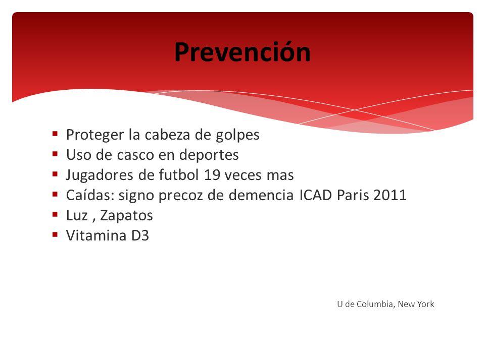 Proteger la cabeza de golpes Uso de casco en deportes Jugadores de futbol 19 veces mas Caídas: signo precoz de demencia ICAD Paris 2011 Luz, Zapatos V