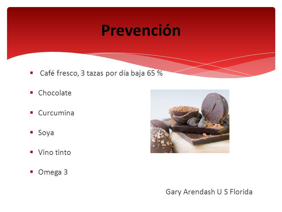 Café fresco, 3 tazas por día baja 65 % Chocolate Curcumina Soya Vino tinto Omega 3 Gary Arendash U S Florida Prevención