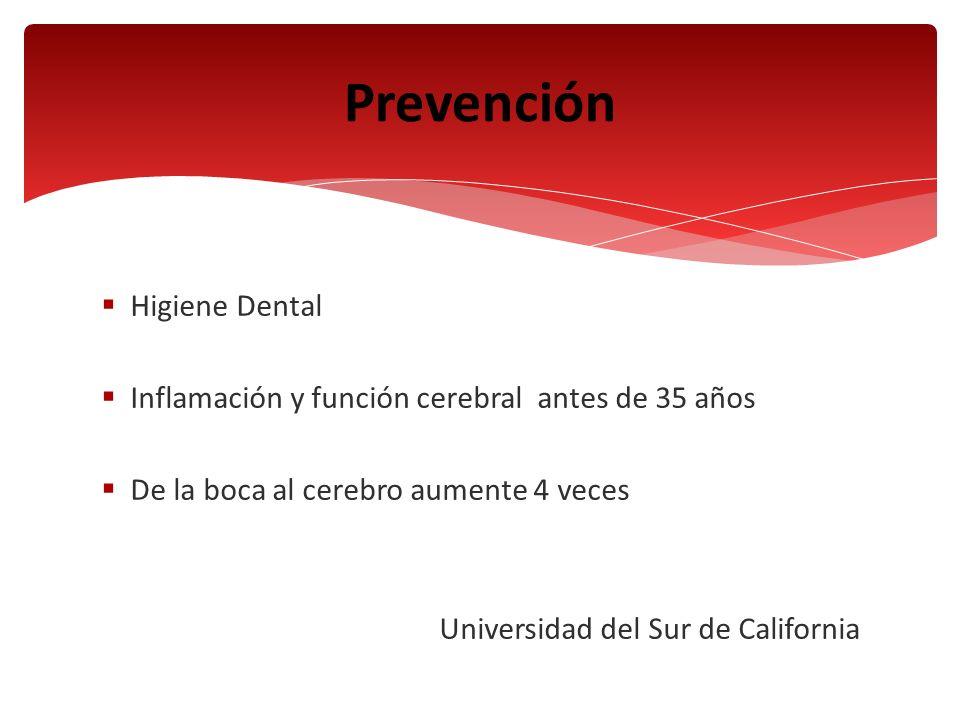 Higiene Dental Inflamación y función cerebral antes de 35 años De la boca al cerebro aumente 4 veces Universidad del Sur de California Prevención