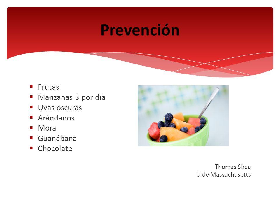 Frutas Manzanas 3 por día Uvas oscuras Arándanos Mora Guanábana Chocolate Thomas Shea U de Massachusetts Prevención
