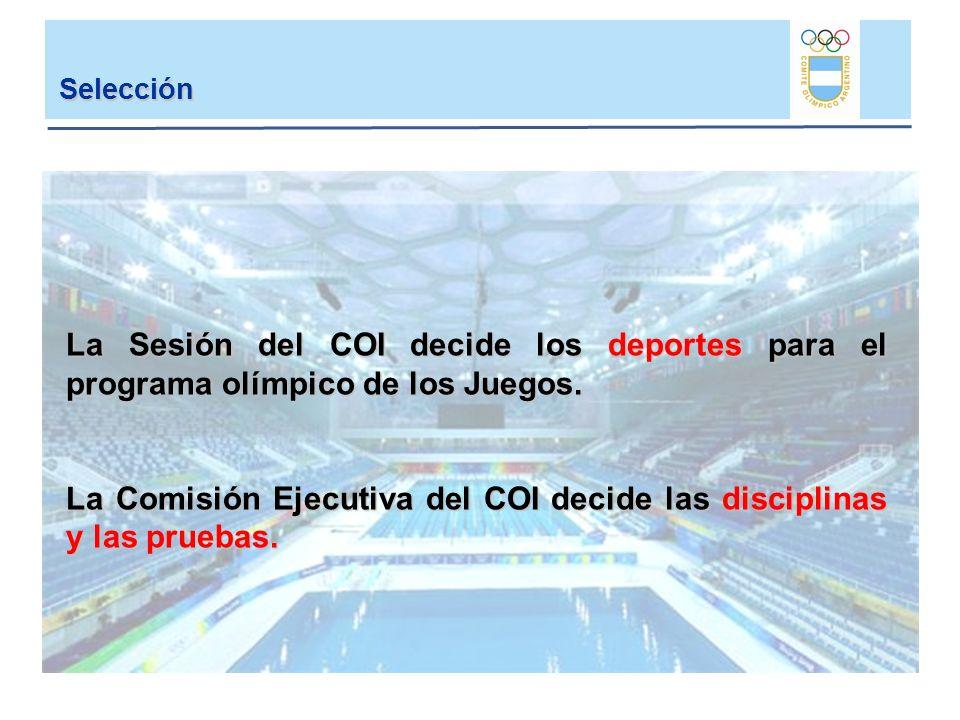 Selección La Sesión del COI decide los deportes para el programa olímpico de los Juegos. La Comisión Ejecutiva del COI decide las disciplinas y las pr
