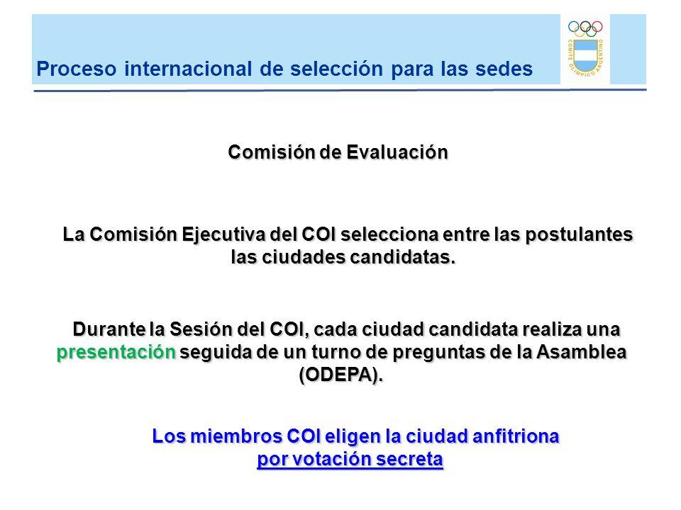 La Comisión Ejecutiva del COI selecciona entre las postulantes las ciudades candidatas. Durante la Sesión del COI, cada ciudad candidata realiza una p