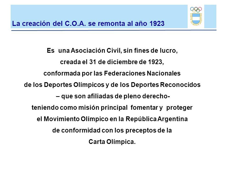 Es una Asociación Civil, sin fines de lucro, creada el 31 de diciembre de 1923, conformada por las Federaciones Nacionales de los Deportes Olímpicos y