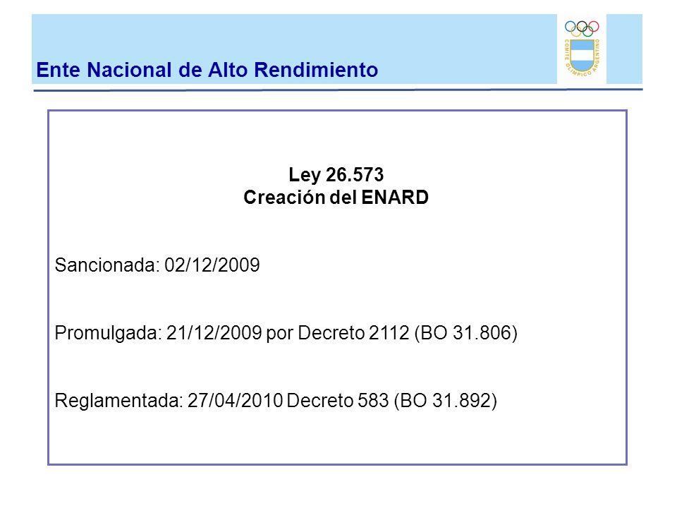 Ley 26.573 Creación del ENARD Sancionada: 02/12/2009 Promulgada: 21/12/2009 por Decreto 2112 (BO 31.806) Reglamentada: 27/04/2010 Decreto 583 (BO 31.8