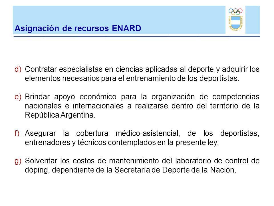 d)Contratar especialistas en ciencias aplicadas al deporte y adquirir los elementos necesarios para el entrenamiento de los deportistas. e)Brindar apo