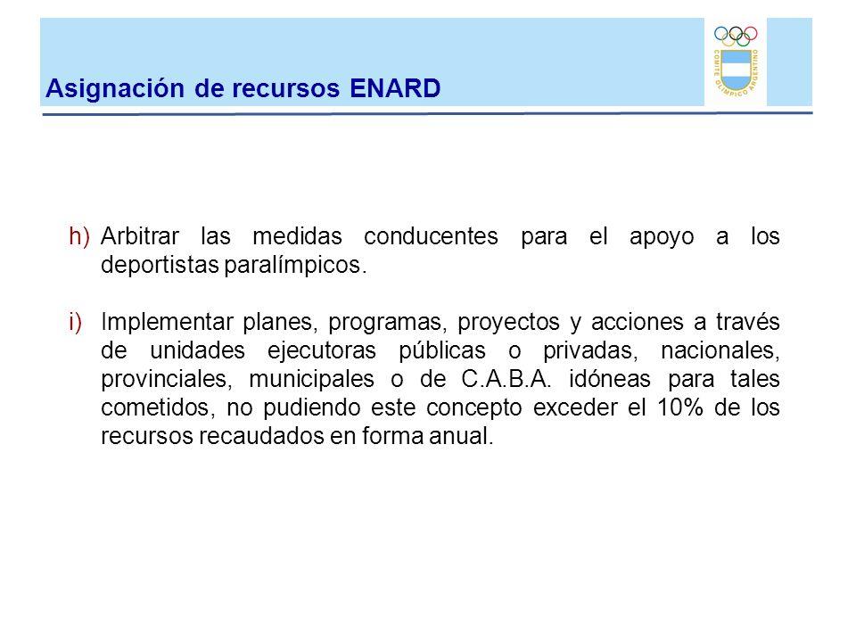 h)Arbitrar las medidas conducentes para el apoyo a los deportistas paralímpicos. i)Implementar planes, programas, proyectos y acciones a través de uni