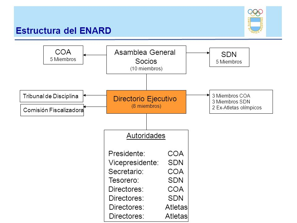 Asamblea General Socios (10 miembros) COA 5 Miembros SDN 5 Miembros Directorio Ejecutivo (8 miembros) 3 Miembros COA 3 Miembros SDN 2 Ex-Atletas olímp
