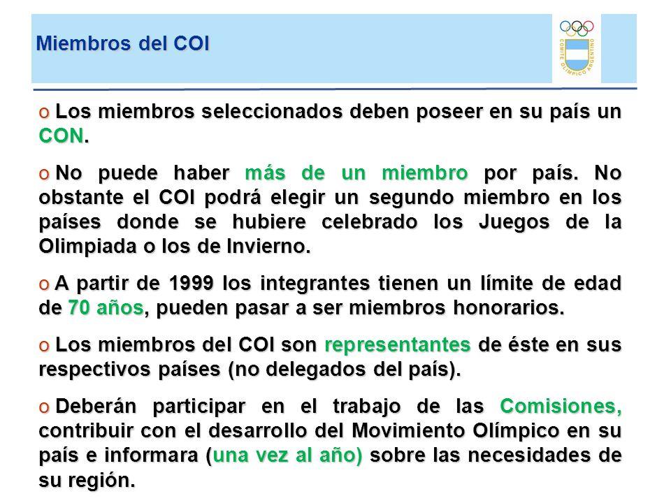Elección Nuevos Miembros COI PresentaEstudiaProponeElige M.COI70C.Atletas15FIS15CONs15 Comisión de Candidaturas Integración Comisión Etica (3) Comisión Atletas (1) Miembros COI (3) Labor:Estudia: Situac.