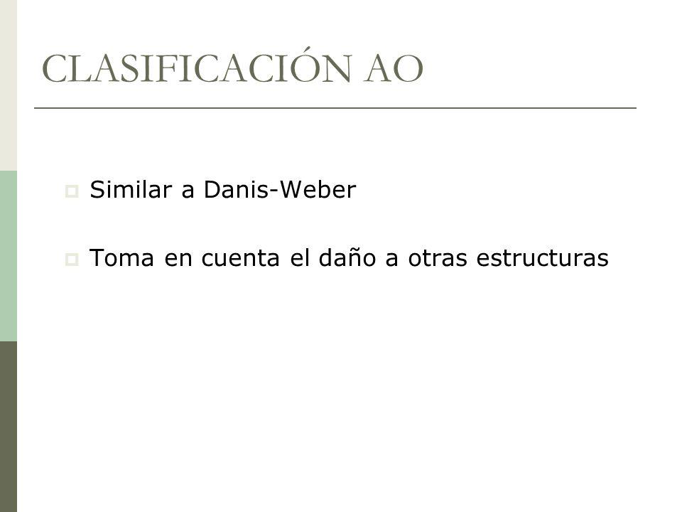 CLASIFICACIÓN AO Similar a Danis-Weber Toma en cuenta el daño a otras estructuras