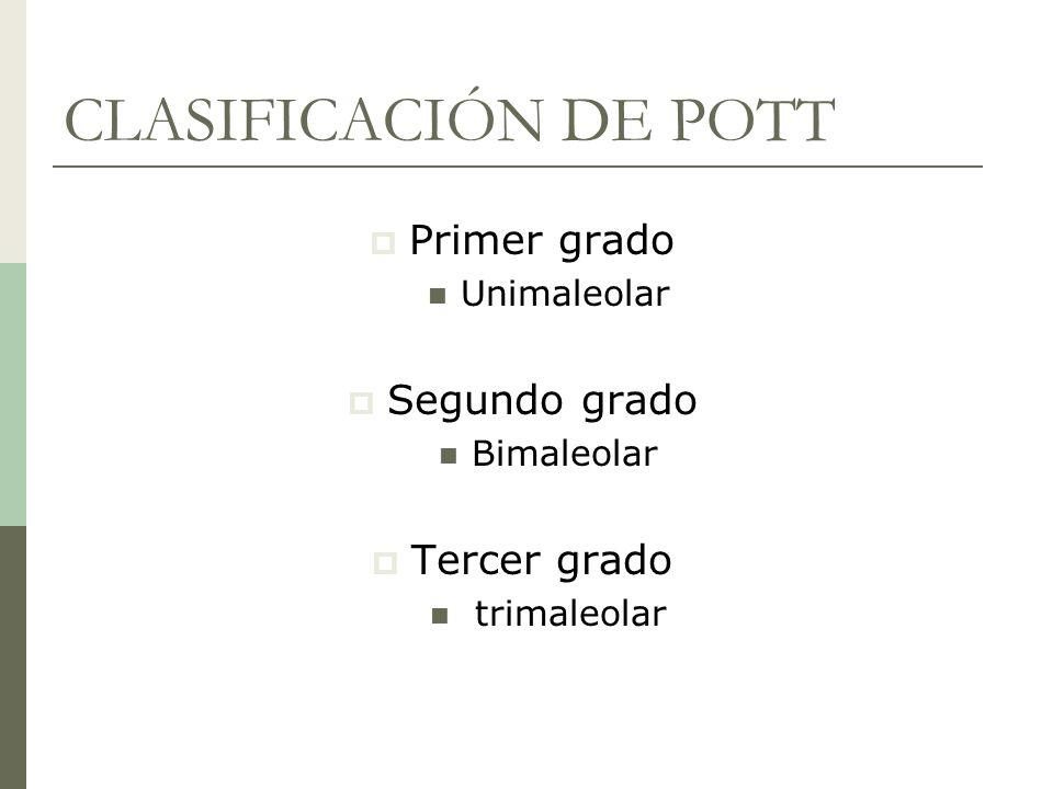 CLASIFICACIÓN DE POTT Primer grado Unimaleolar Segundo grado Bimaleolar Tercer grado trimaleolar