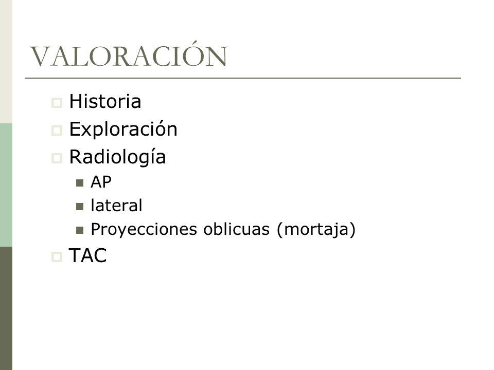 VALORACIÓN Historia Exploración Radiología AP lateral Proyecciones oblicuas (mortaja) TAC