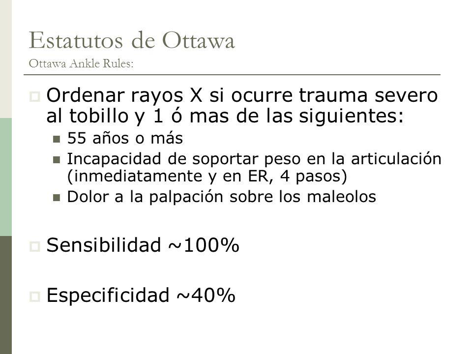 Estatutos de Ottawa Ottawa Ankle Rules: Ordenar rayos X si ocurre trauma severo al tobillo y 1 ó mas de las siguientes: 55 años o más Incapacidad de s