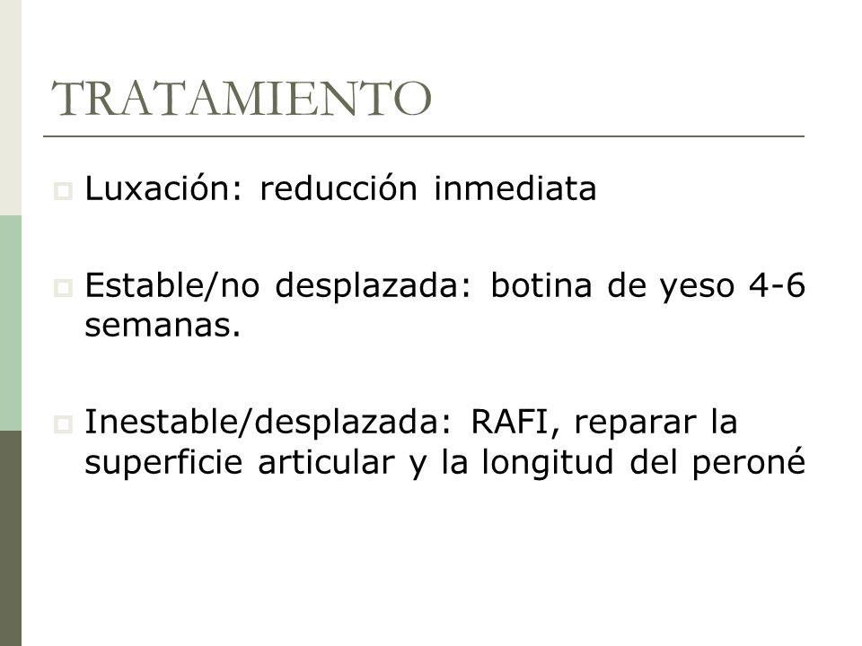TRATAMIENTO Luxación: reducción inmediata Estable/no desplazada: botina de yeso 4-6 semanas. Inestable/desplazada: RAFI, reparar la superficie articul