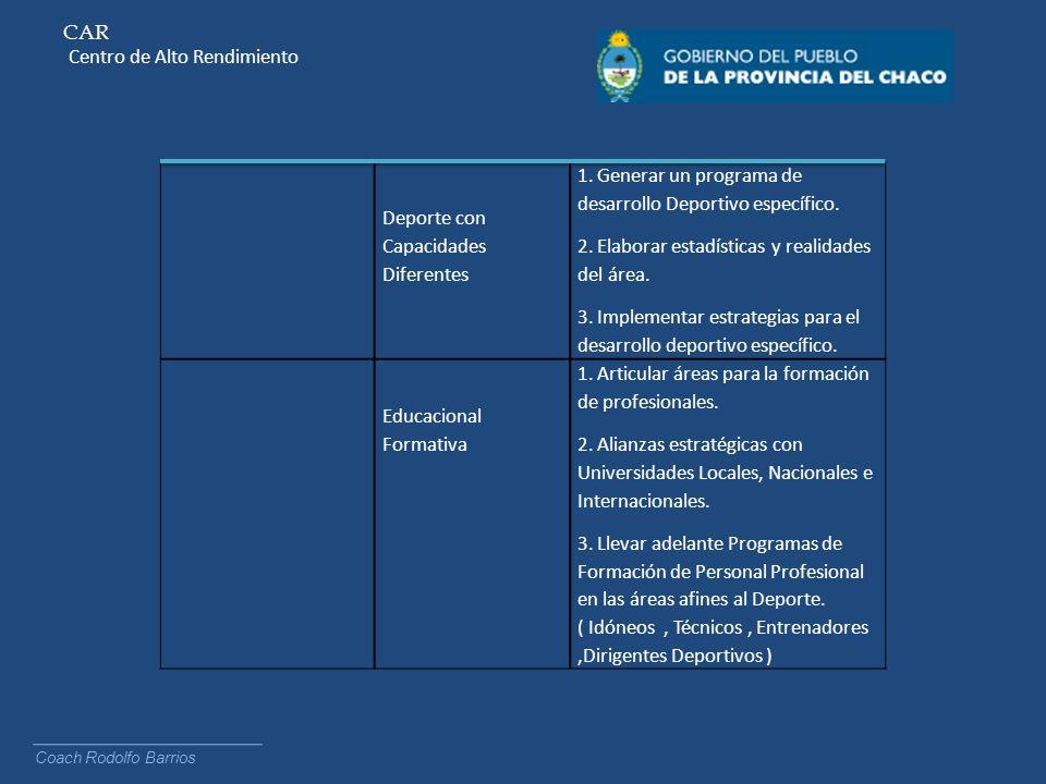 CAR Centro de Alto Rendimiento Coach Rodolfo Barrios Deporte con Capacidades Diferentes 1. Generar un programa de desarrollo Deportivo específico. 2.