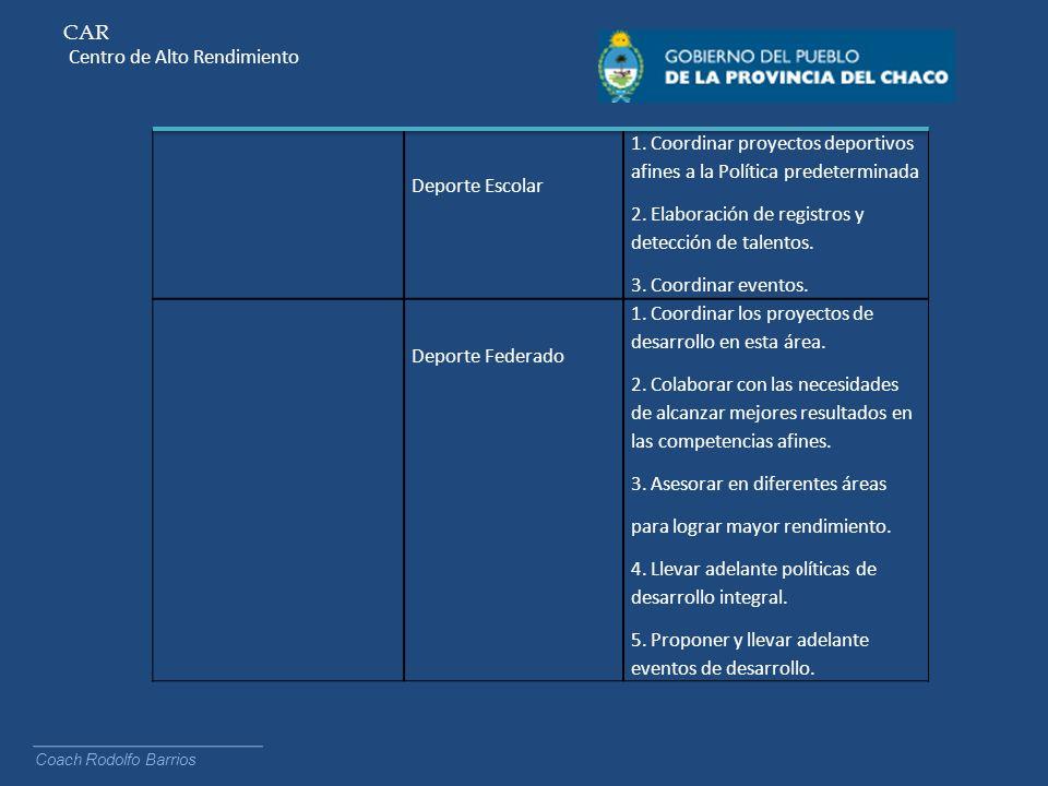 CAR Centro de Alto Rendimiento Coach Rodolfo Barrios Deporte Escolar 1. Coordinar proyectos deportivos afines a la Política predeterminada 2. Elaborac