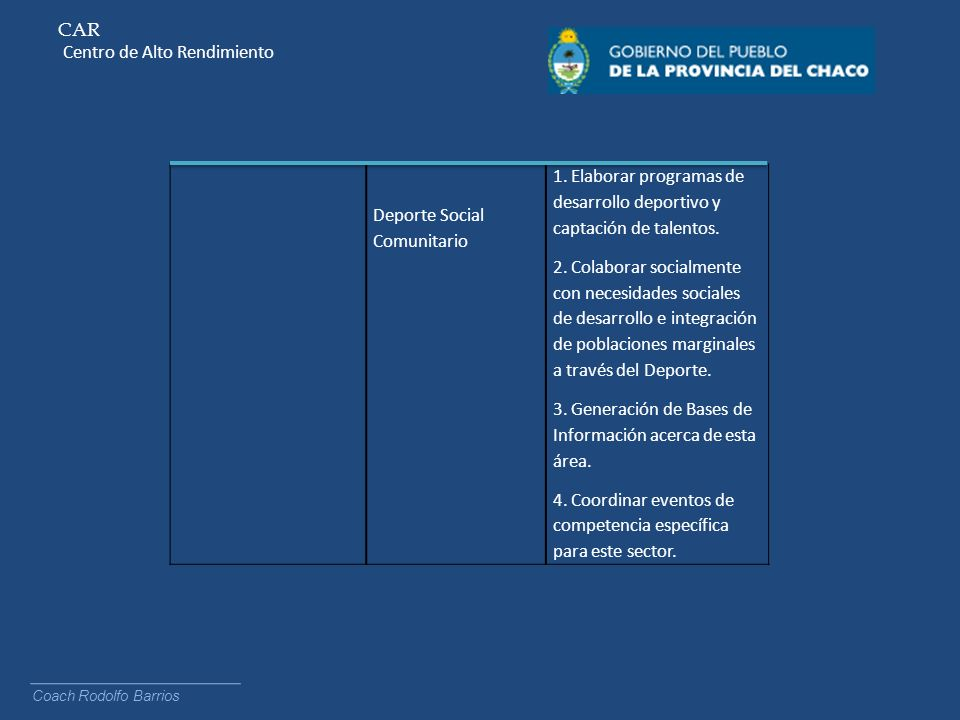 CAR Centro de Alto Rendimiento Coach Rodolfo Barrios Deporte Social Comunitario 1. Elaborar programas de desarrollo deportivo y captación de talentos.