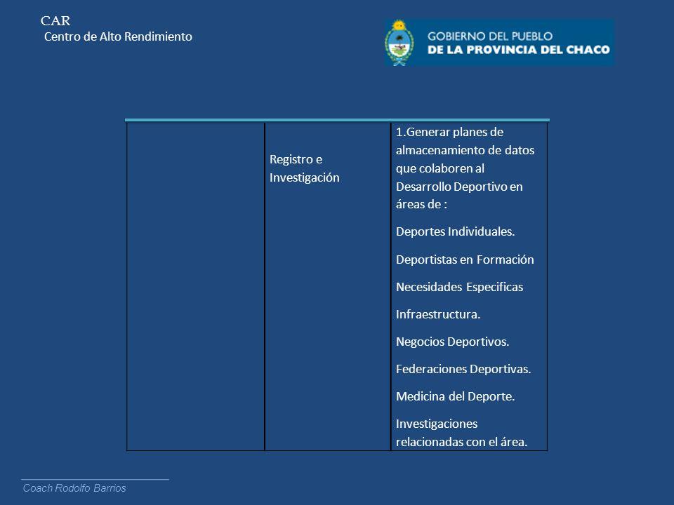 CAR Centro de Alto Rendimiento Coach Rodolfo Barrios Registro e Investigación 1.Generar planes de almacenamiento de datos que colaboren al Desarrollo