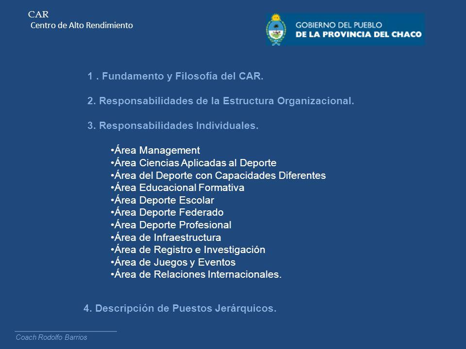 CAR Centro de Alto Rendimiento 1. Fundamento y Filosofía del CAR. 2. Responsabilidades de la Estructura Organizacional. 3. Responsabilidades Individua