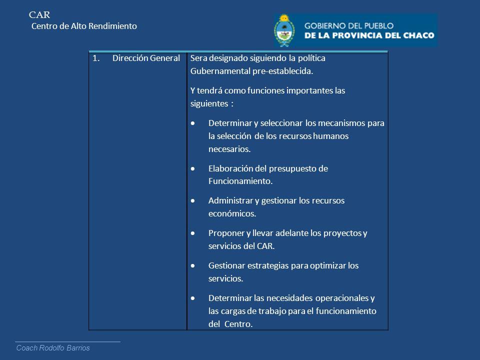 CAR Centro de Alto Rendimiento Coach Rodolfo Barrios 1.Responsabilidades Compartidas Se conformaran direcciones de trabajo con áreas determinadas que tendrán plena responsabilidad sobre los objetivos establecidos.
