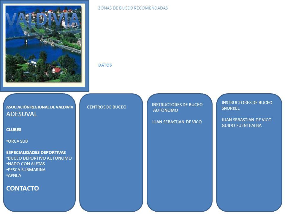 ASOCIACIÓN REGIONAL DE VALDIVIA ADESUVAL CLUBES ORCA SUB ESPECIALIDADES DEPORTIVAS BUCEO DEPORTIVO AUTÓNOMO NADO CON ALETAS PESCA SUBMARINA APNEA CONTACTO INSTRUCTORES DE BUCEO AUTÓNOMO JUAN SEBASTIAN DE VICO INSTRUCTORES DE BUCEO SNORKEL JUAN SEBASTIAN DE VICO GUIDO FUENTEALBA ZONAS DE BUCEO RECOMENDADAS DATOS CENTROS DE BUCEO