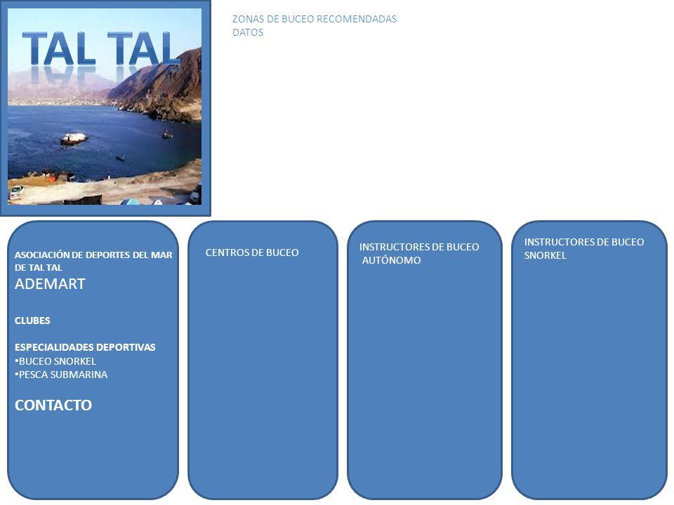 ASOCIACIÓN DE DEPORTES DEL MAR DE TAL TAL ADEMART CLUBES ESPECIALIDADES DEPORTIVAS BUCEO SNORKEL PESCA SUBMARINA CONTACTO INSTRUCTORES DE BUCEO AUTÓNOMO INSTRUCTORES DE BUCEO SNORKEL ZONAS DE BUCEO RECOMENDADAS DATOS CENTROS DE BUCEO