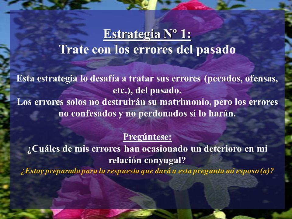Estrategia Nº 1: Trate con los errores del pasado Esta estrategia lo desafía a tratar sus errores (pecados, ofensas, etc.), del pasado. Los errores so