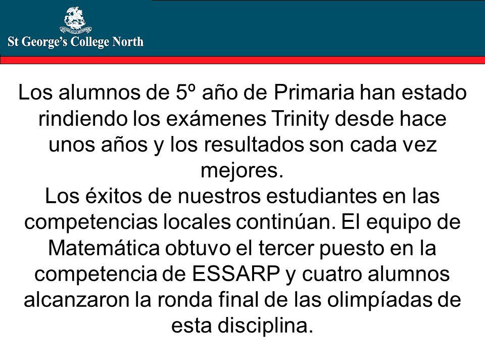 Los alumnos de 5º año de Primaria han estado rindiendo los exámenes Trinity desde hace unos años y los resultados son cada vez mejores. Los éxitos de