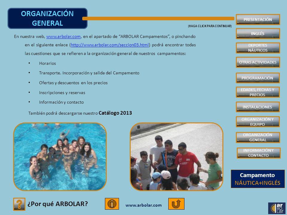 www.arbolar.com ORGANIZACIÓN GENERAL (HAGA CLICK PARA CONTINUAR) ¿Por qué ARBOLAR? PRESENTACIÓN INGLÉS DEPORTES NÁUTICOS INSTALACIONES PROGRAMACIÓN ED