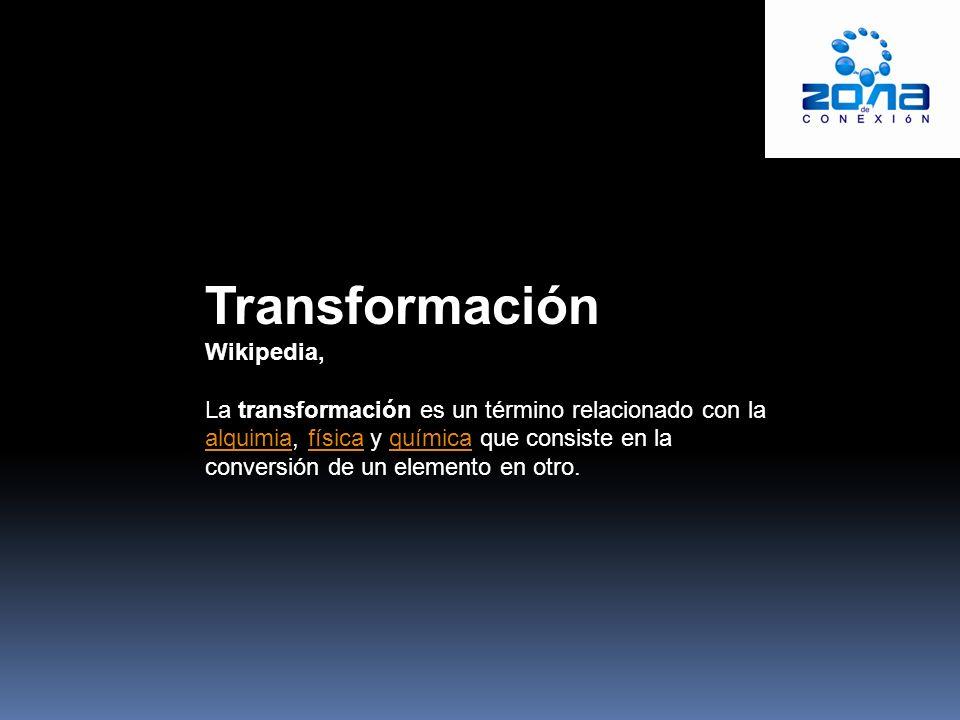 Transformación Wikipedia, La transformación es un término relacionado con la alquimia, física y química que consiste en la conversión de un elemento en otro.