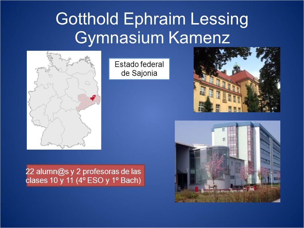 Gotthold Ephraim Lessing Gymnasium Kamenz Estado federal de Sajonia 22 alumn@s y 2 profesoras de las clases 10 y 11 (4º ESO y 1º Bach)