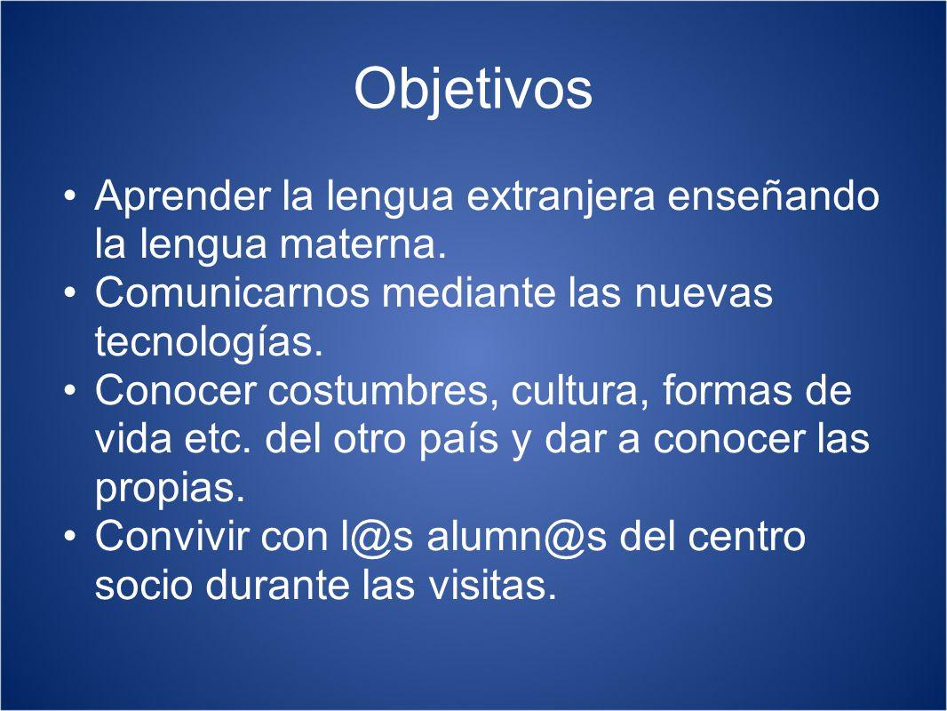 Objetivos Aprender la lengua extranjera enseñando la lengua materna. Comunicarnos mediante las nuevas tecnologías. Conocer costumbres, cultura, formas