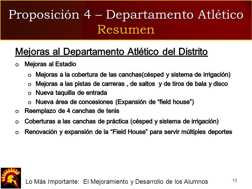 fLo Más Importante: El Mejoramiento y Desarrollo de los Alumnos Proposición 4 – Departamento Atlético Resumen 13