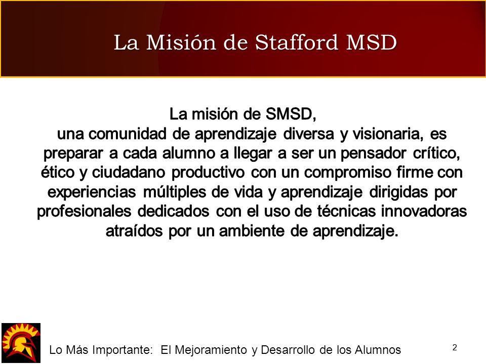 fLo Más Importante: El Mejoramiento y Desarrollo de los Alumnos 22 La Misión de Stafford MSD