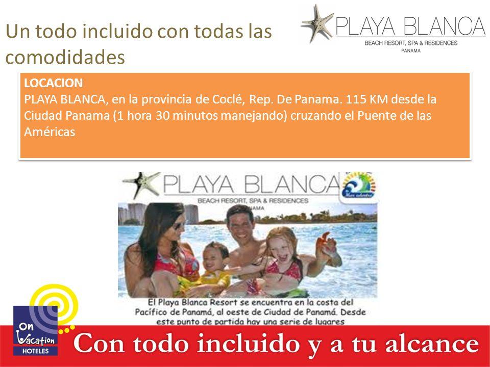 Un todo incluido con todas las comodidades LOCACION PLAYA BLANCA, en la provincia de Coclé, Rep. De Panama. 115 KM desde la Ciudad Panama (1 hora 30 m