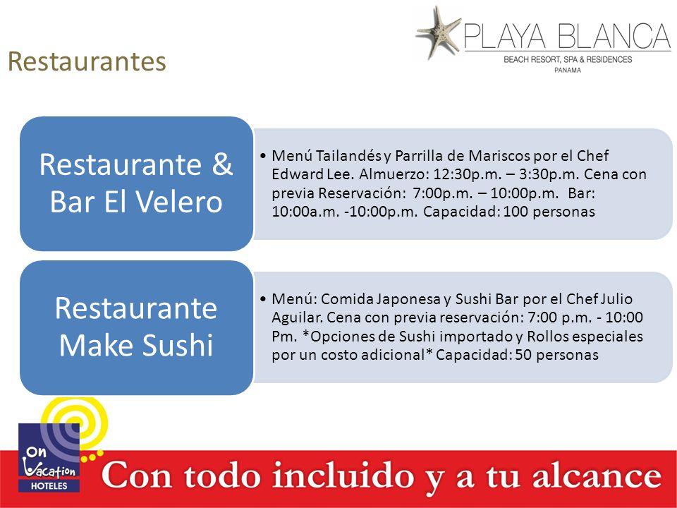 Restaurantes Menú Tailandés y Parrilla de Mariscos por el Chef Edward Lee. Almuerzo: 12:30p.m. – 3:30p.m. Cena con previa Reservación: 7:00p.m. – 10:0