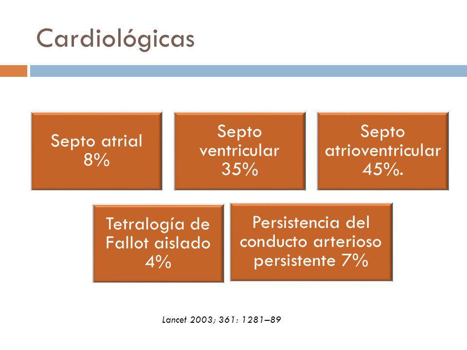 Cardiológicas Septo atrial 8% Septo ventricular 35% Septo atrioventricular 45%. Tetralogía de Fallot aislado 4% Persistencia del conducto arterioso pe