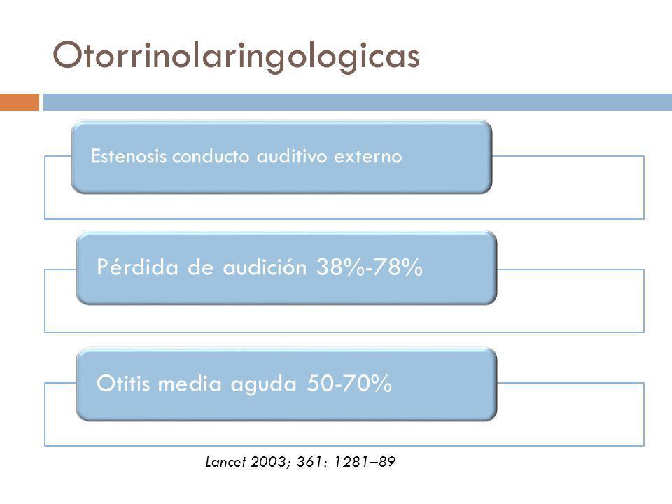 Otorrinolaringologicas Estenosis conducto auditivo externo Pérdida de audición 38%-78%Otitis media aguda 50-70% Lancet 2003; 361: 1281–89