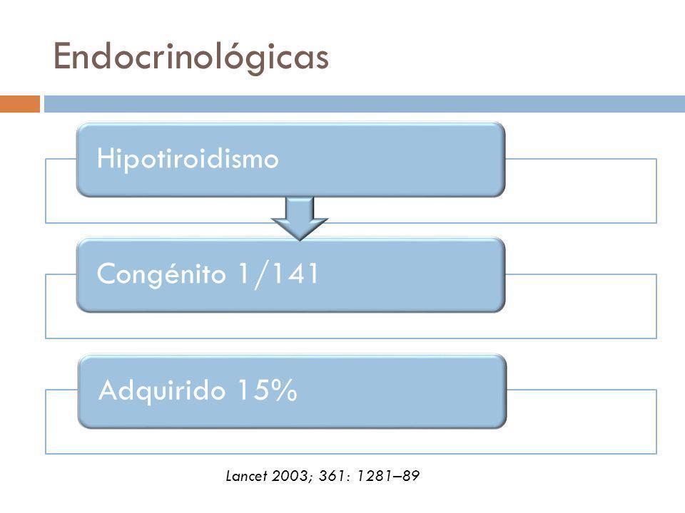 Endocrinológicas HipotiroidismoCongénito 1/141Adquirido 15% Lancet 2003; 361: 1281–89