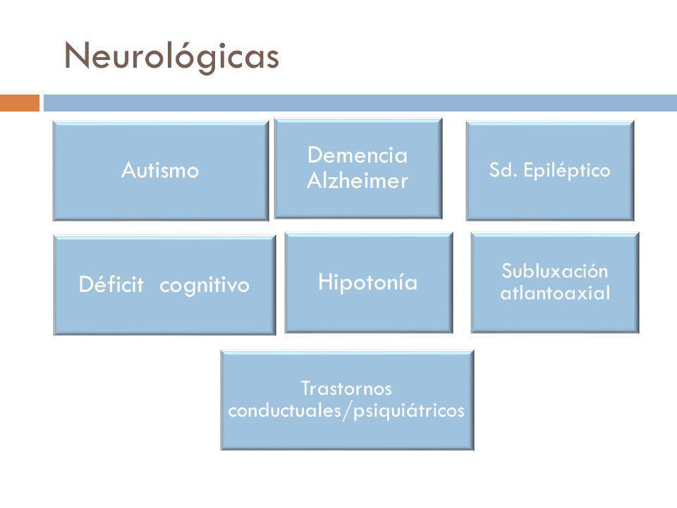 Neurológicas Autismo Demencia Alzheimer Sd. Epiléptico Déficit cognitivo Hipotonía Subluxación atlantoaxial Trastornos conductuales/psiquiátricos