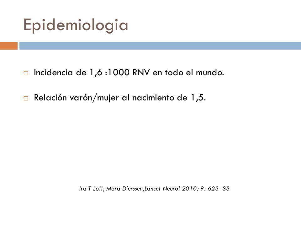 Epidemiologia Incidencia de 1,6 :1000 RNV en todo el mundo. Relación varón/mujer al nacimiento de 1,5. Ira T Lott, Mara Dierssen,Lancet Neurol 2010; 9
