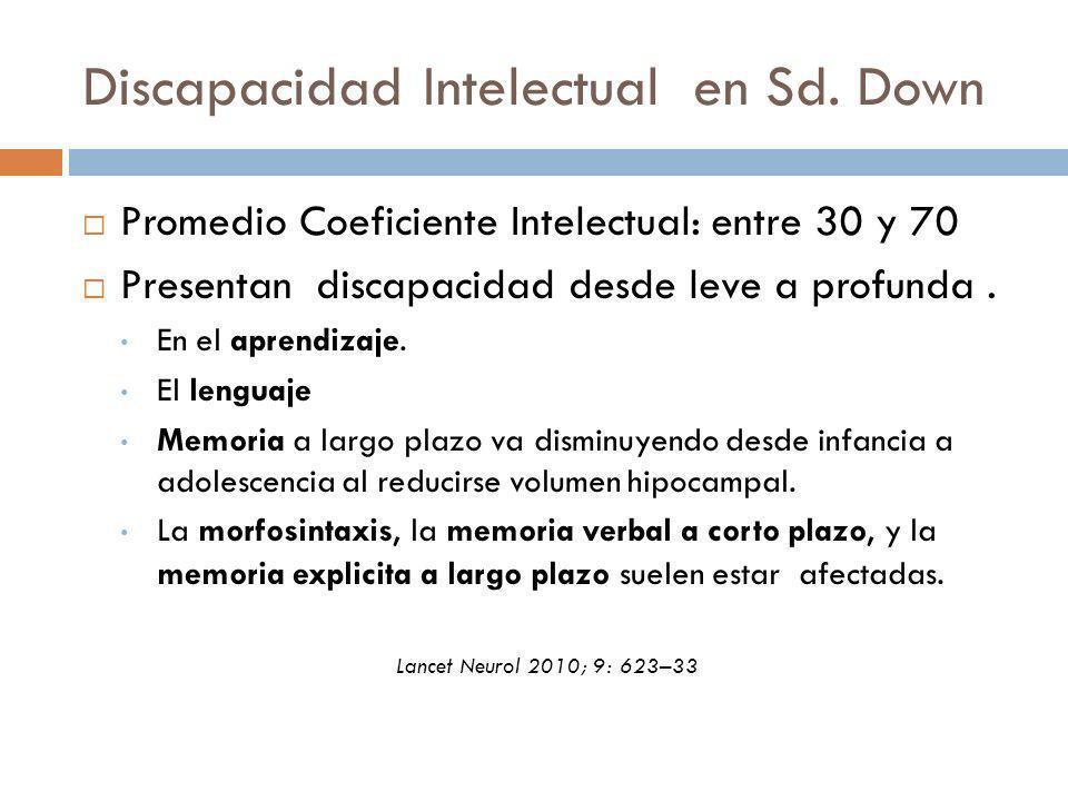 Discapacidad Intelectual en Sd. Down Promedio Coeficiente Intelectual: entre 30 y 70 Presentan discapacidad desde leve a profunda. En el aprendizaje.