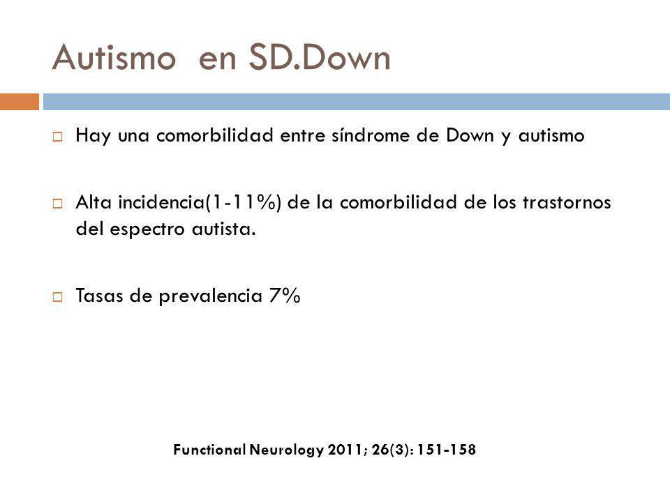 Autismo en SD.Down Hay una comorbilidad entre síndrome de Down y autismo Alta incidencia(1-11%) de la comorbilidad de los trastornos del espectro auti