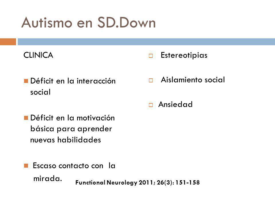 Autismo en SD.Down CLINICA Déficit en la interacción social Déficit en la motivación básica para aprender nuevas habilidades Escaso contacto con la mi