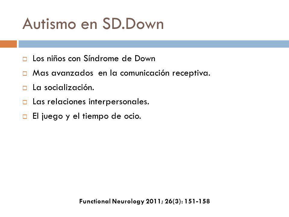 Autismo en SD.Down Los niños con Síndrome de Down Mas avanzados en la comunicación receptiva. La socialización. Las relaciones interpersonales. El jue