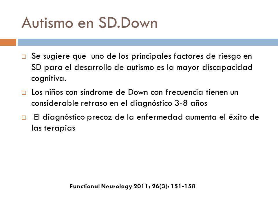 Autismo en SD.Down Se sugiere que uno de los principales factores de riesgo en SD para el desarrollo de autismo es la mayor discapacidad cognitiva. Lo